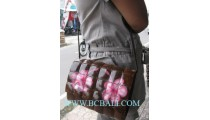 Coconut Floral Handbag Wooden