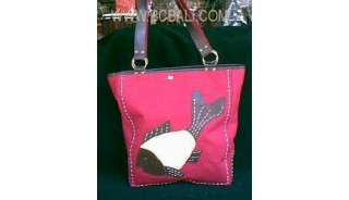 Handbag Canvas Leather