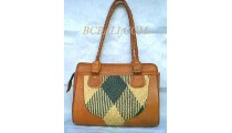 Casual Handbags Leather Rattan
