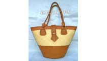 Leather Rattan Handbags Natural