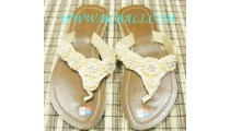 Beige Bead Shoes Sandals