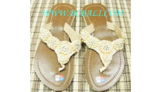 Beige Bead Shoes Sandals