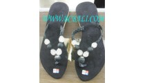 Black Jewel Flat Sandal