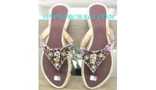 Sandale En Coton Marron Avec Perle