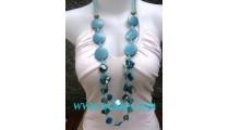 Blue Color Wooden Necklaces Painted