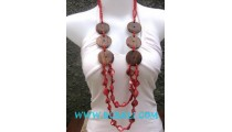 Wooden Necklaces with Shells