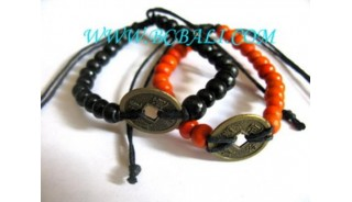 Wood Bracelets With Coin