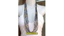 Bali Multi Strand Necklace Long Beading