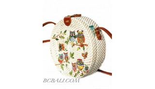 New Style Handmade Circle Rattan Bag with Animal Decoration