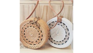 Multi Color Circle Rattan Bags Handwoven Process Braid Trend Design
