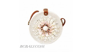 Handmade seashells deco circle bag round rattan