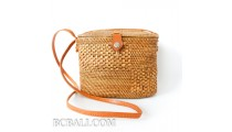 Women bali handbag ata rattan grass handmade leather strap