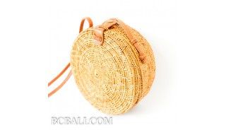 ata grass circle rattan handbag flower design