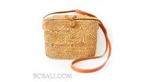 ladies handbag made from ata grass straw leather long  strap bali indonesia