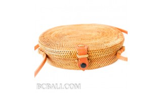Oval rattan handbag ata hand woven leather handle