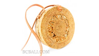 Bali circle rattan grass bag  hand woven fabric lining unique design