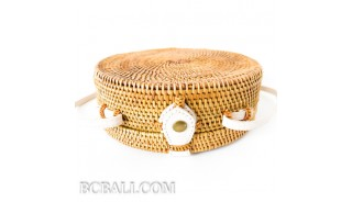 circle disc handbags rattan limited edition white leather handle