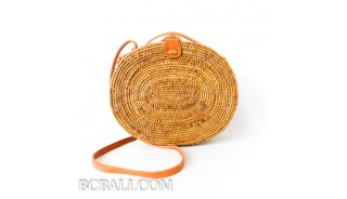 Bali circle oval rattan handbags motif star oval design leather handle