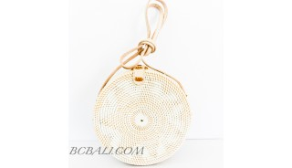 Circle Round Rattan Bags Handwoven Full White Color Handle Leather
