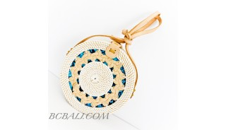Ata Rattan Circle  Bags & Strap  White Color Design Gendhis Braid