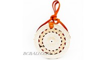 Ata Rattan Circle  Bags White & Red Lining Design Braid Gendhis