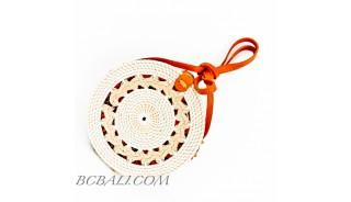Ata Rattan Circle  Bags White & Red Lining Design Braid Gendhis