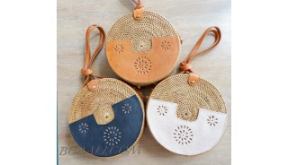 New Colection Inovate Circle Rattan Bags With  Leather Outer  Deco
