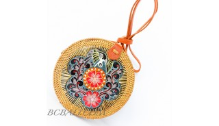 New Traditional Sling Bags Ata Rattan with Wooden Hand Painting Ethnic Balinese