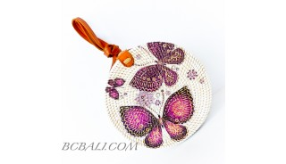 New Style Sling Bags Circle Rattan Rafia With Beautiful Decoration