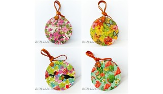 Circle Rattan Sling Bags Bali With Flower Decorations Handmade