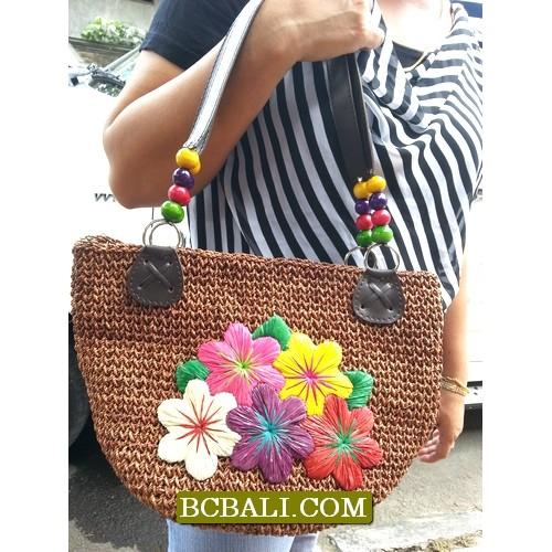 Amazing Design Natural Embroidery Handbags Amazing Flowers Hand