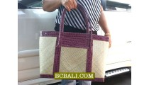 Balinese Handmade Pandanus Handbags Leather
