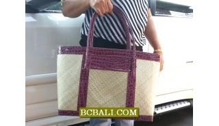 Balinese Handmade Pandanus Handbags Leather