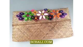 Beaded Rattan Natural Wallet Purses Design