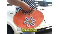 Straw Cotton Handbags FLowers Wood Handle