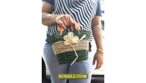 Hand Bags Straw Roupe Flowers