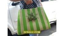 Handmade Handbags Straw Wooden Handle