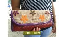 Jute Wallet Purses Natural Flowers
