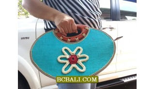 Ladies Purses Straw Wooden Handle Casual