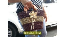 Small Bags Straw Wooden Handle Flowers
