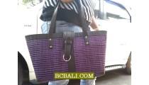 Straw Handmade Handbags Design Solid Color