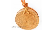Circle around handbags straw rattan hand woven motif side
