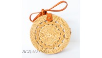 Best Quality Balinese Bags Circle Round Rattan Braid Motif Handwoven