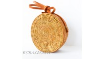 ata grass hand woven circle star design handbag leather strap