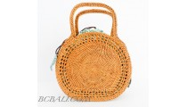 Rattan Handbag Moon Shape Filigree desaign handwoven