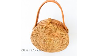 rattan hand woven ata grass lining full handmade circle short handle leather