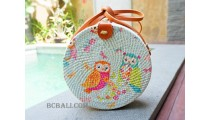 women fashion sling bags rattan circle with decorative