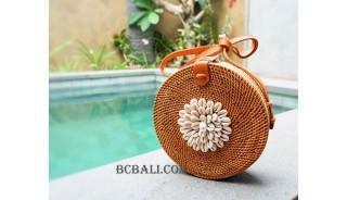 seashells cowrie circle rattan sling bags handmade