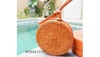 new full leather sling bags circle handmade fashion