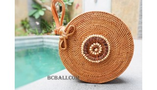 natural circle rattan sling bag with wooden beads